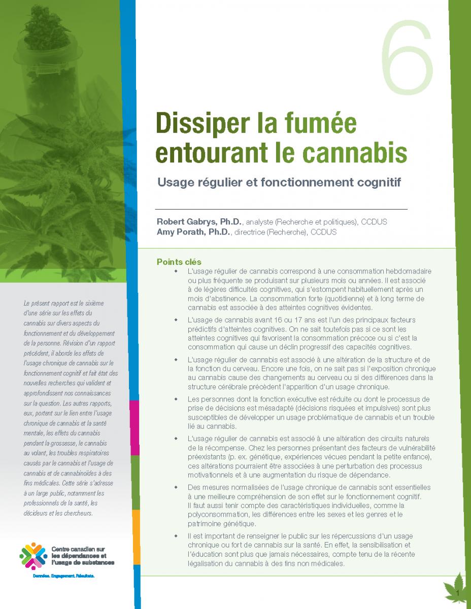CCDUS Cannabis 6 usage régulier et fonc cognitif