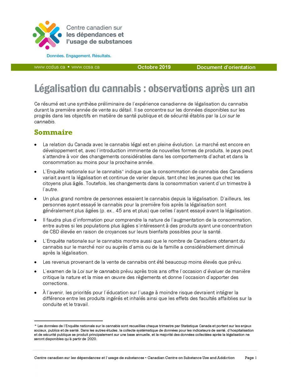 Legalisation Cannabis après un an CCDUS