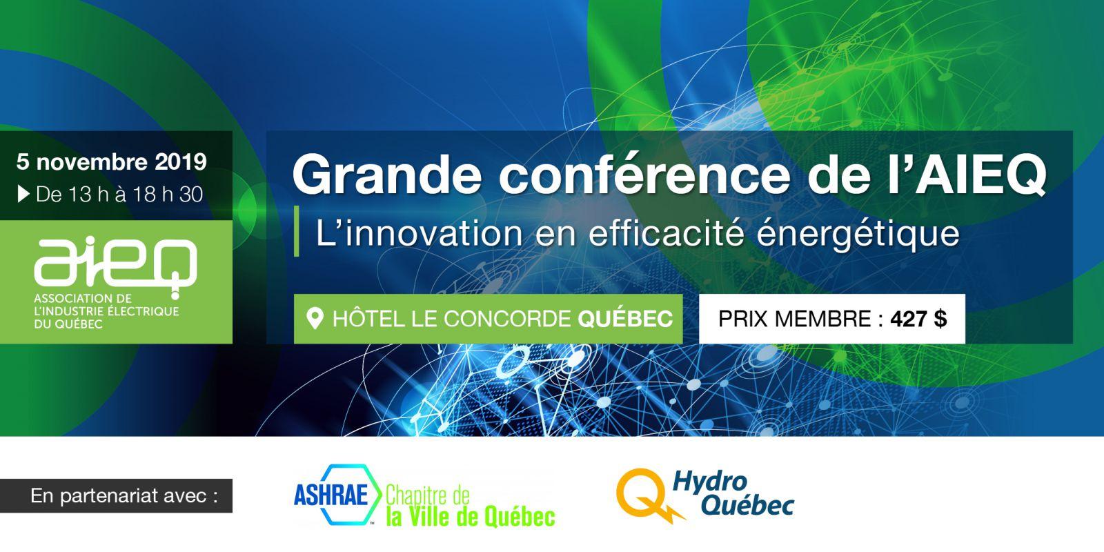Bannière Grande conférence sur l'efficacité énergétique à Québec - AIEQ