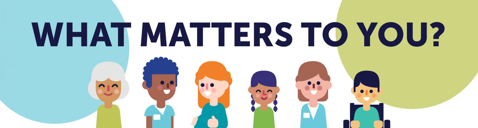 The words 'What Matters To You?' are above a row of cartoon smiling people. A blue circle and green circle are in the background.