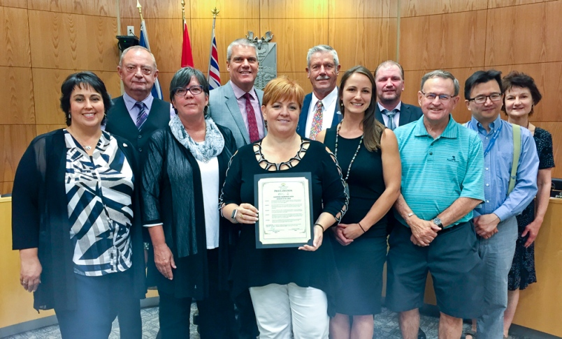 The Fort St. John Community Action Team with city councillors on proclamation day.