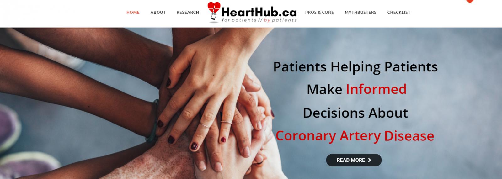 Heart Hub website homepage