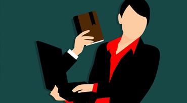 Illustration : Personne tenant un ordinateur portable duquel sort un bras tendu tenant un livre (crédit :Pixabay).