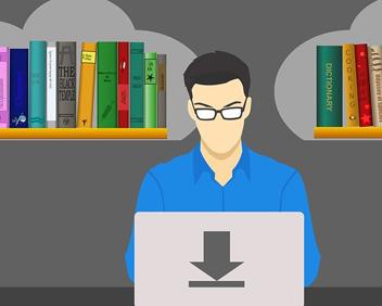 Illustration : main retirant une liseuse d'une bibliothèque.