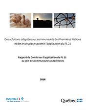 Page couverture du Rapport du Comité sur l'application du PL 21 au sein des communautés autochtones