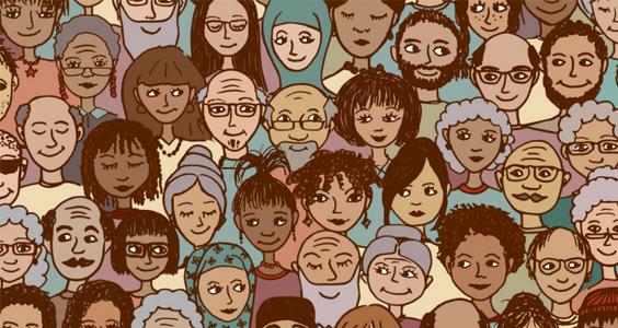 Image représentant une foule comprenant plusieurs personnes issues de minorités ethniques