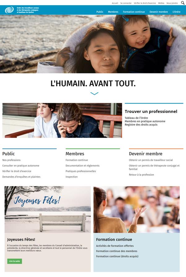 Capture d'écran de la page d'accueil du nouveau site Web de l'Ordre