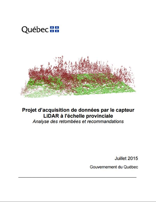 Projet d'acquisition de données par la capteur LiDAR à l'échelle provinciale