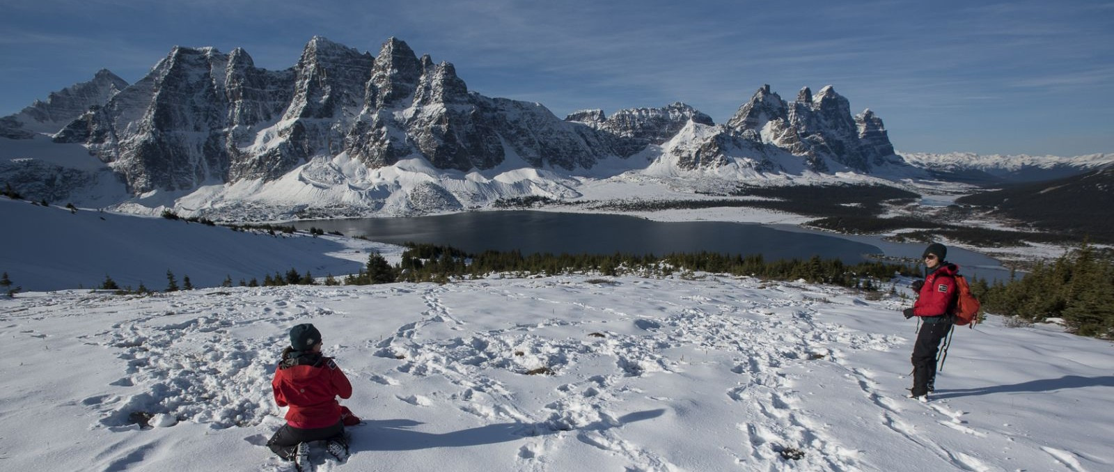 Photo: Parks Canada staff collecting scat samples in Tonquin Valley, taken by Mark Bradley.