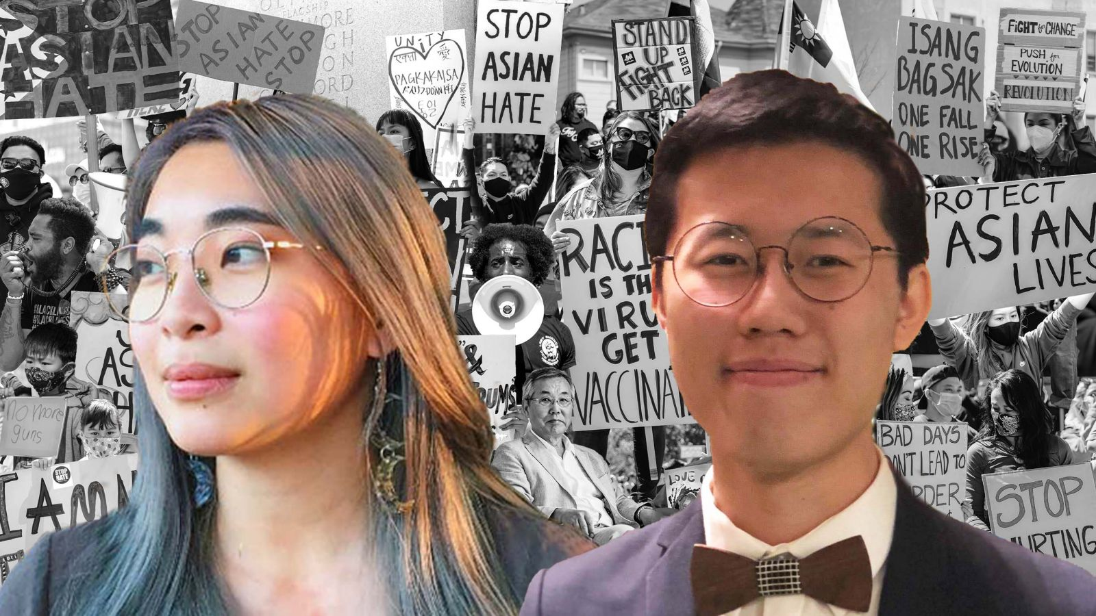 Headshots in colour of Amanda Wan (left) and Patrck Leong (right), layered on top of a black and white collage of diverse people holding signs protesting against anti-Asian racism.
