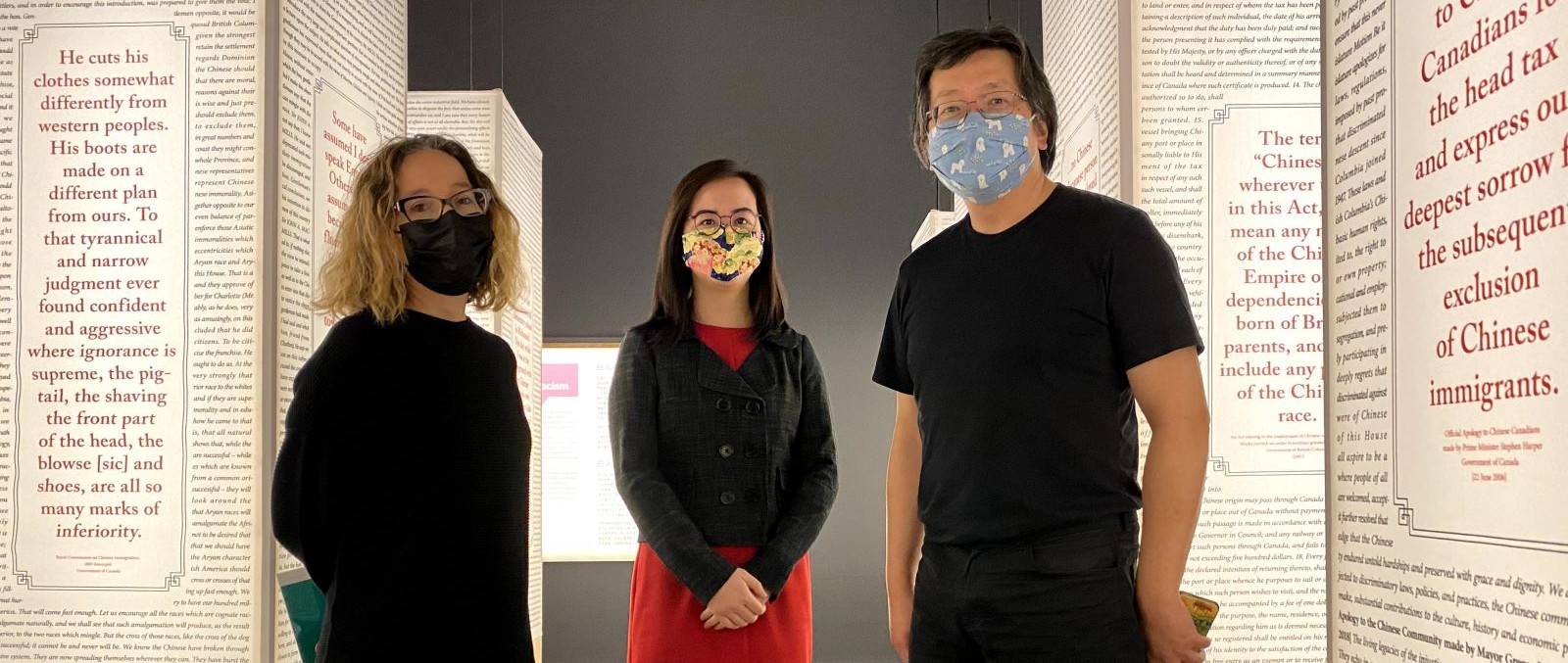 Co-curators, from left to right: Viviane Gosselin, Denise Fong, and Henry Yu posing in the MOV exhibit.