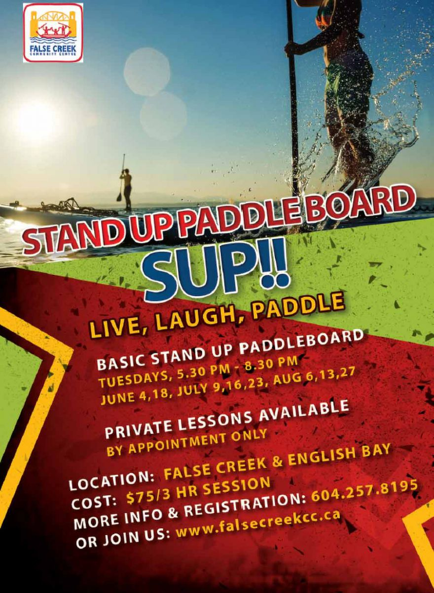 "Basic Stand Up NEW Paddleboard (SUP) Course (16+ yrs) Our comprehensive 3-hour lesson takes you through every aspect of SUP. Beginning in the calm waters of Alderbay, we'll cover all the basics including; getting familiar with the equipment, safety awareness and on-water etiquette, water entry, proper stance and positioning on the board, and efficient paddling techniques. Once everyone is comfortable, we'll be off exploring the waters of English Bay and stopping at one of the local beaches to take in the scenery and have a rest. Successful participants will receive the ""Basic Stand Up Paddleboard Skills Certificate""."