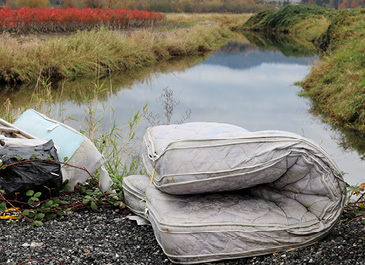 Image of a mattress illegally dumped by a river