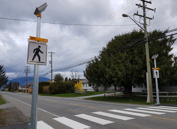 Image of crosswalk with flashing lights