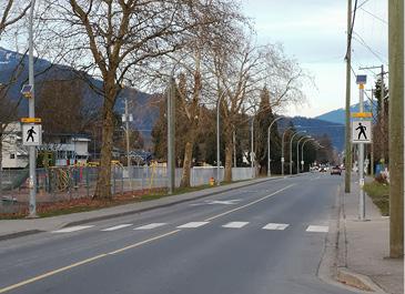 Image of crosswalk with flashing lights