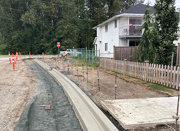 Image of newly installed curbs