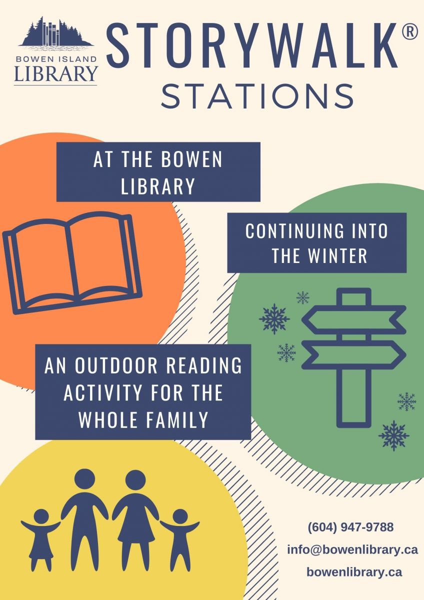 Storywalk Stations at the Bowen Library this October. An outdoor reading activity for the whole family.