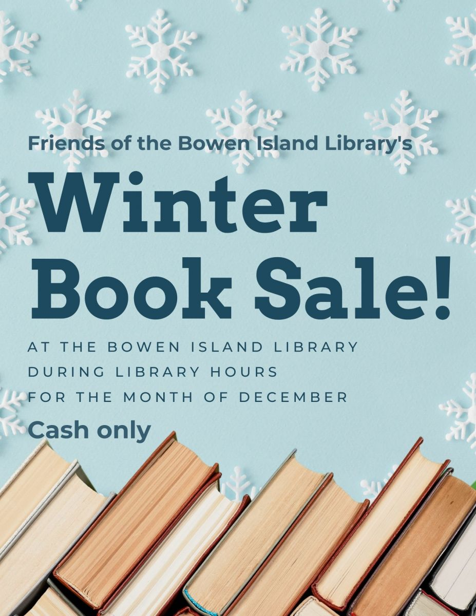 Poster link to Library Winter Book Sale event on bowenlibrary.ca events calendar