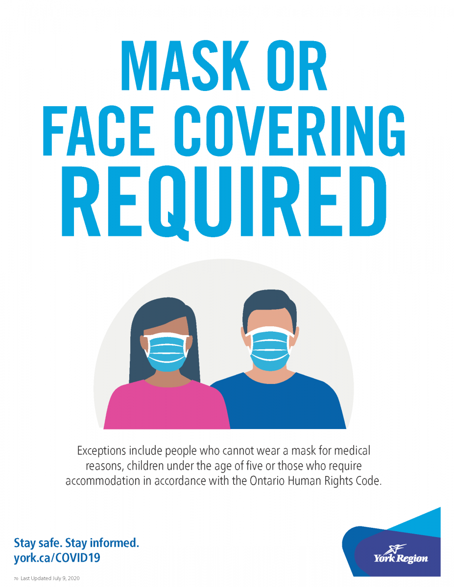 Mask or Face Covering Required - York Region