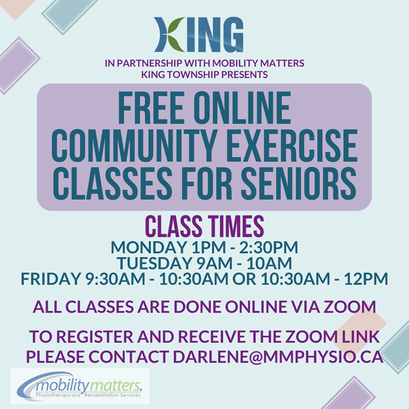 Promotional Image for Free Online Community Exercise Classes for Seniors via Zoom