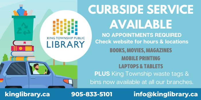 Curbside Service Available at all King Library Branches