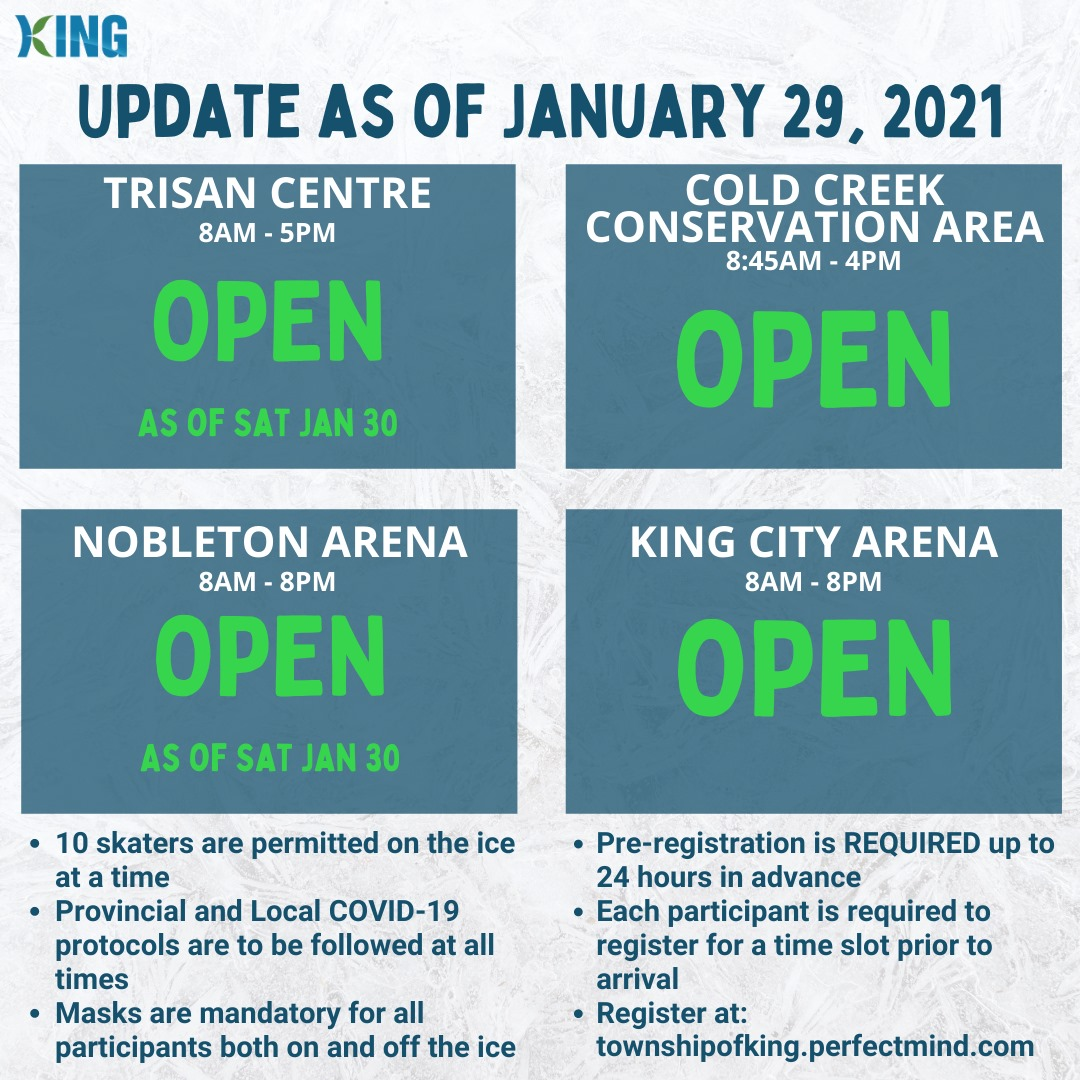 Outdoor Rinks Update - Trisan Centre, Cold Creek, Nobleton Arena and King City Arena ice now open