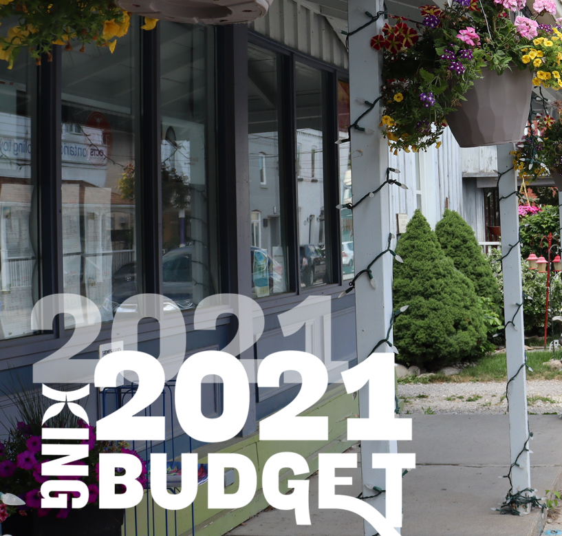 2021 Budget image of budget logo and King business in the background