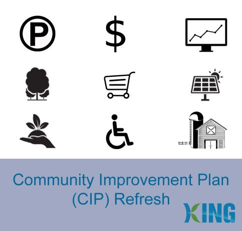 Collage of icons related to the Community Improvement Plan