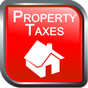 icon image with a house and the text property taxes on a red background