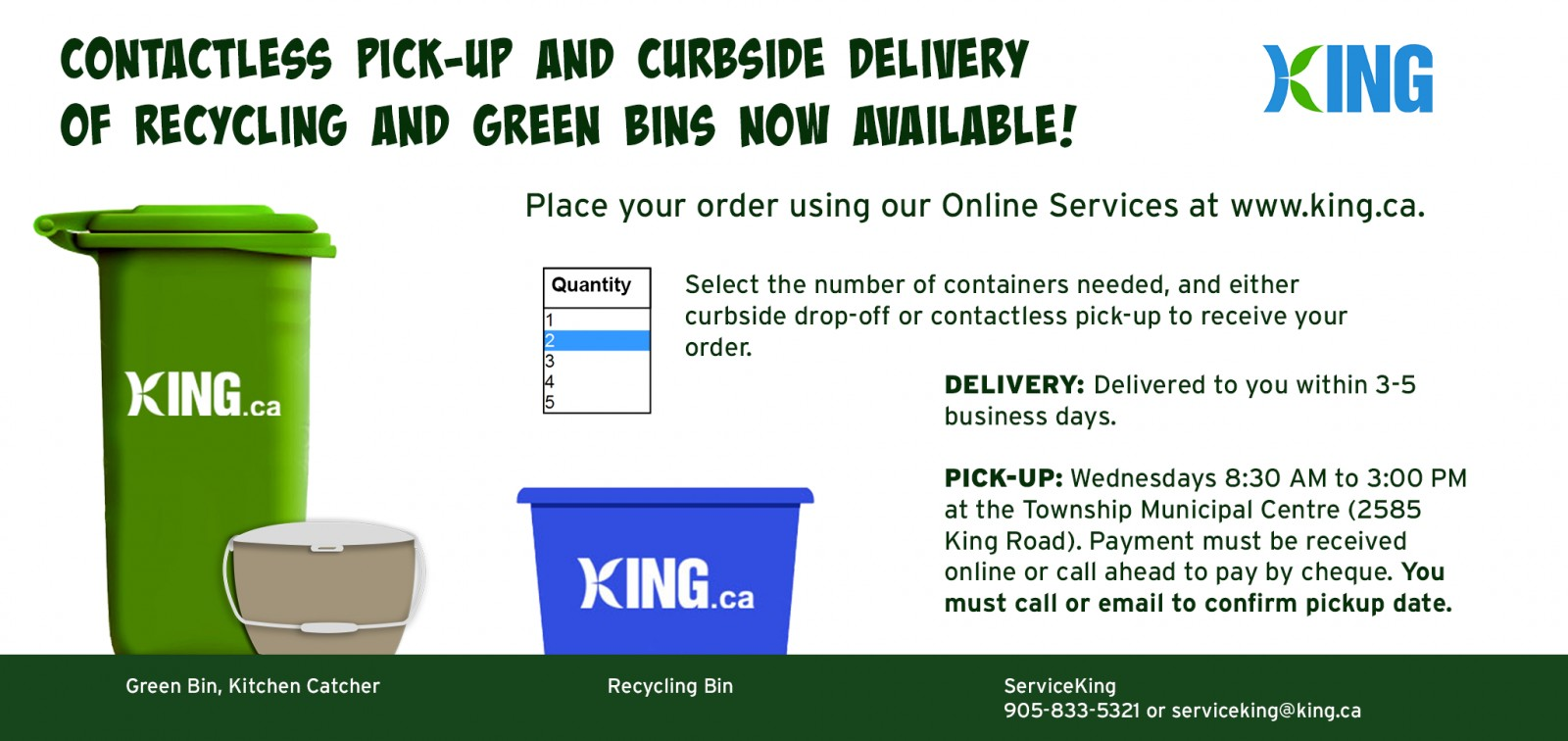 Order recycling and green bins online banner