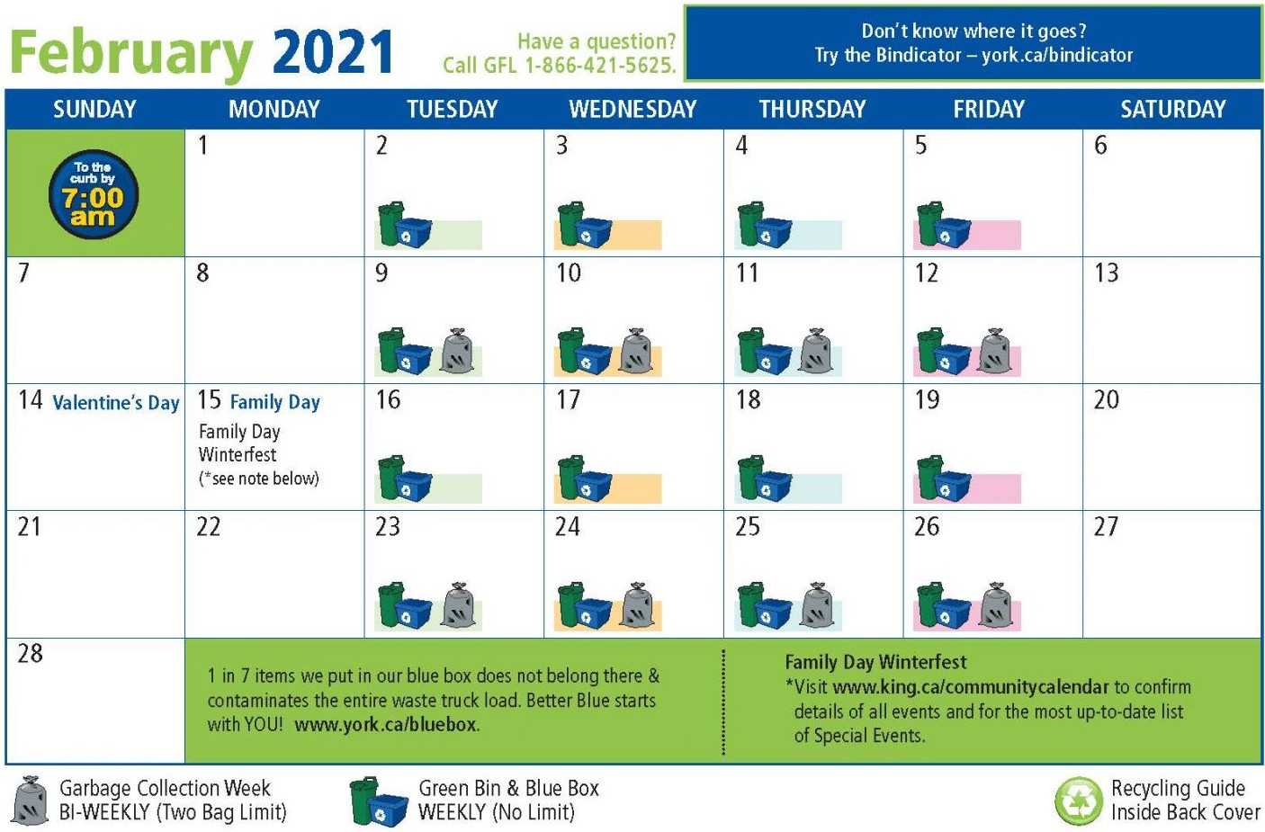 Picture of February Waste Collection Calendar page
