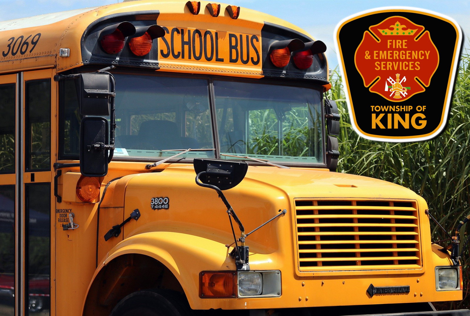 Picture of school bus and King Fire logo