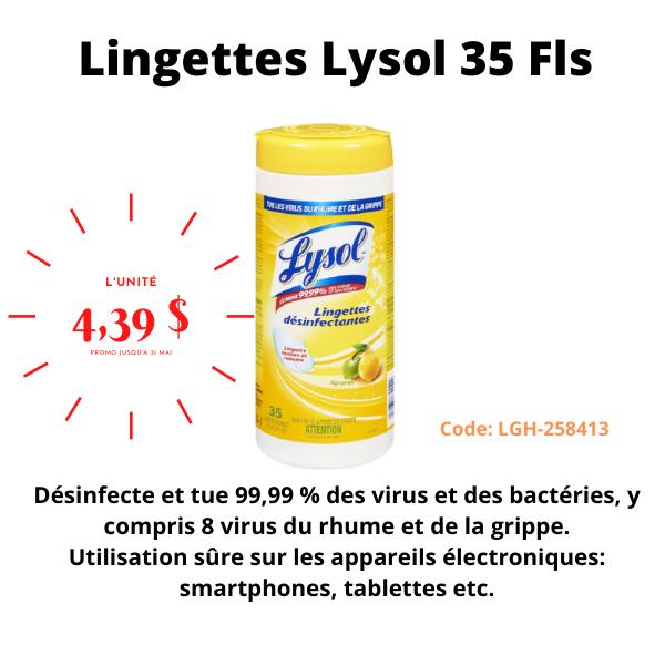 Lingettes LYSOL désinfectantes 35FLS, code: LGH-258413