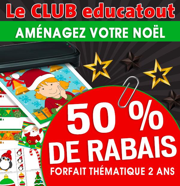 50 % de rabais sur un forfait thématique 2 ans au Club Educatout