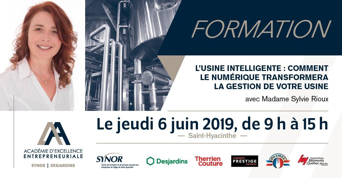 L'usine intelligente, une formation de Sylvie Rioux le 6 juin 2019