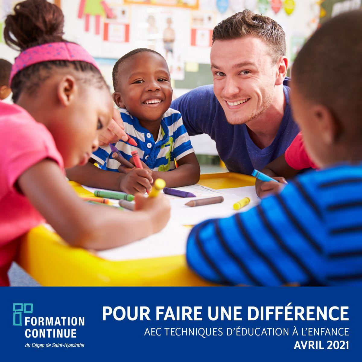 L'AEC TECHNIQUES D'ÉDUCATION À L'ENFANCE OFFERTE À COMPTER DU 26 AVRIL 2021
